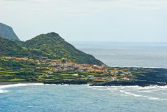 Acores; flores海岛,重创的faja 图库摄影