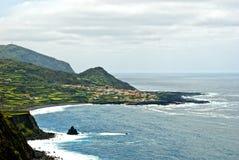 Acores; flores海岛,重创faja的全景  库存照片