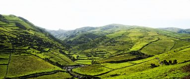 Acores; panorama of flores island, east coast Royalty Free Stock Image