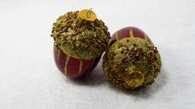Acorn bożych narodzeń ornamenty Fotografia Royalty Free