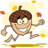 Acorn Cartoon Mascot Character Running With Fall Leaves Background Royalty Free Stock Photos