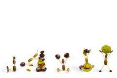 Acorn fellows set 2 3D illustration. Acorn fellows  on white  background. Autumn raster illustration Stock Image