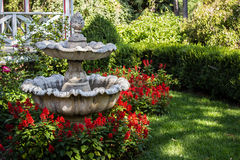 Acorn Fountain. An old acorn fountain in a yard surrounded by red flowers Royalty Free Stock Image