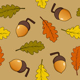 Acorn Fruits and Leaves Seamless Pattern Stock Photography