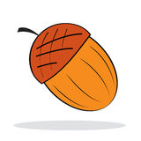 Acorn with grey shadow. Autumnal icon. Vector illustration Stock Images