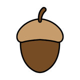 Acorn icon. Vector - Acorn with grey shadow. Autumnal icon. illustration Royalty Free Stock Photos