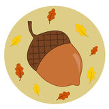Acorn with leaves autumn fall illustration Stock Photography