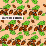 Acorn Nuts. Pattern watercolor  illustration Stock Photo