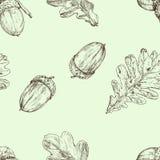 Acorn and oak leaf. Vector seamless pattern. Hand drawn illustration. Autumn background vector illustration