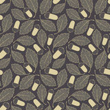Acorn and oak leaves. In pattern Stock Photos
