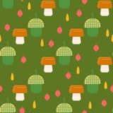 Acorn pattern with mushrooms Stock Photo