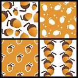 Acorn Seamless Patterns Set Royalty Free Stock Image