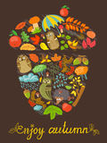 Acorn shape. Enjoy autumn card with acorn shape Stock Photos