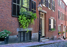 Acorn Street. Famous Acorn Street, america's most photographed area in the Beacon Hill area of Boston Massachusetts, showing gas light, cobblestone road Royalty Free Stock Photos
