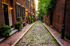 Acorn Street, in Beacon Hill, Boston, Massachusetts. Royalty Free Stock Images