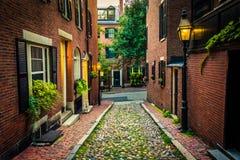 Acorn Street, in Beacon Hill, Boston, Massachusetts. stock images