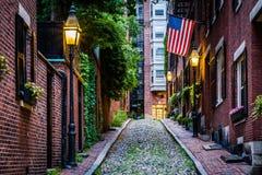 Acorn Street, in Beacon Hill, Boston Massachusetts. Royalty Free Stock Photo
