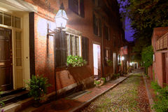 Acorn street Beacon Hill cobblestone Boston Royalty Free Stock Images