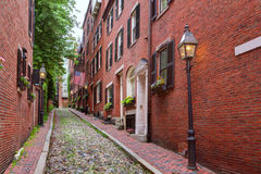 Acorn street Beacon Hill cobblestone Boston Royalty Free Stock Image