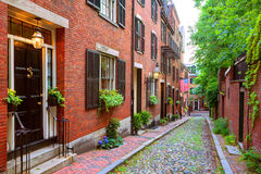 Acorn street Beacon Hill cobblestone Boston Royalty Free Stock Photo