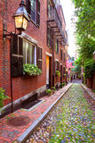 Acorn street Beacon Hill cobblestone Boston Royalty Free Stock Photography