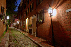Acorn street Beacon Hill cobblestone Boston Royalty Free Stock Photo