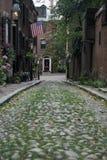Acorn Street, Beacon Hill, Massachusetts USA. Acorn Street.  One of the most famous cobblestone streets in Boston Massachusetts Royalty Free Stock Images