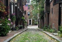 Acorn Street, Beacon Hill, Massachusetts USA. Acorn Street.  One of the most famous cobblestone streets in Boston Massachusetts Stock Photography
