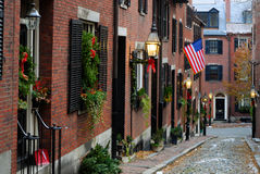 Acorn Street, Boston. Acorn Street around Christmas in Boston, Massachusetts Stock Photos
