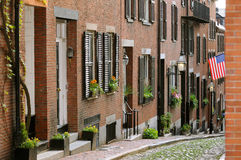 Acorn Street in Boston Beacon Hill. Acorn Street in Beacon Hill, Boston. Brick apartment facades and cobblestone way. Tourist attraction, historic landmark Royalty Free Stock Images