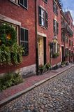 Acorn Street in Boston, Beacon Hill, during the winter stock photo