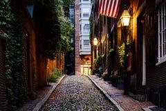 Acorn Street at night, in Beacon Hill, Boston Massachusetts. Stock Photography