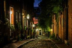 Acorn Street at night, in Beacon Hill, Boston, Massachusetts. Royalty Free Stock Photo