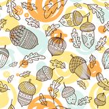 Acorn vector seamless pattern in boho style. With ornament and oak leaves. Can be printed and used as wrapping paper, wallpaper, textile, fabric etc Royalty Free Stock Photos