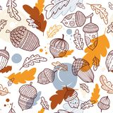 Acorn vector seamless pattern in boho style. With ornament and oak leaves. Can be printed and used as wrapping paper, wallpaper, textile, fabric etc Stock Photo
