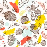 Acorn vector seamless pattern in boho style. With ornament and oak leaves. Can be printed and used as wrapping paper, wallpaper, textile, fabric etc Stock Photos