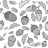 Acorn vector seamless pattern in boho style. With ornament and oak leaves. Can be printed and used as wrapping paper, wallpaper, textile, fabric etc Royalty Free Stock Image