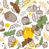 Acorn vector seamless pattern in boho style. With ornament and oak leaves. Can be printed and used as wrapping paper, wallpaper, textile, fabric etc Stock Photography