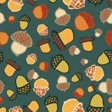 Acorn woodland seamless repeat pattern design vector illustration