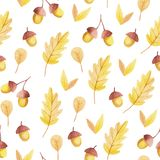 Acorn and yellow leaf seamless pattern. Fall vibes. stock illustration