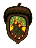 Acorn z dębem inside ilustracja wektor