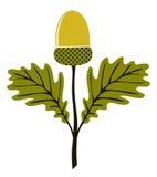 Acorn z liśćmi ilustracja wektor