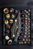 Acorns and chestnuts on black Royalty Free Stock Photography
