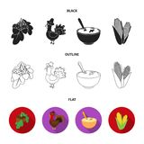 Acorns, corn.arthene puree, festive turkey,Canada thanksgiving day set collection icons in black,flat,outline style. Vector symbol stock illustration Stock Image