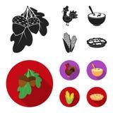Acorns, corn.arthene puree, festive turkey,Canada thanksgiving day set collection icons in black, flat style vector. Symbol stock illustration Royalty Free Stock Photo
