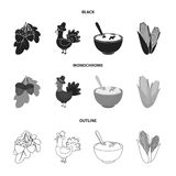 Acorns, corn.arthene puree, festive turkey,Canada thanksgiving day set collection icons in black,monochrome,outline. Style vector symbol stock illustration Royalty Free Stock Photography