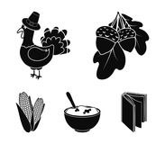 Acorns, corn.arthene puree, festive turkey,Canada thanksgiving day set collection icons in black style vector symbol. Stock illustration Stock Images