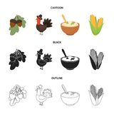 Acorns, corn.arthene puree, festive turkey,Canada thanksgiving day set collection icons in cartoon,black,outline style. Vector symbol stock illustration Royalty Free Stock Images