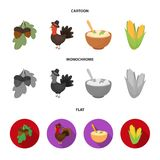 Acorns, corn.arthene puree, festive turkey,Canada thanksgiving day set collection icons in cartoon,flat,monochrome style. Vector symbol stock illustration Royalty Free Stock Photography