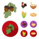 Acorns, corn.arthene puree, festive turkey,Canada thanksgiving day set collection icons in cartoon,flat style vector. Symbol stock illustration Stock Images